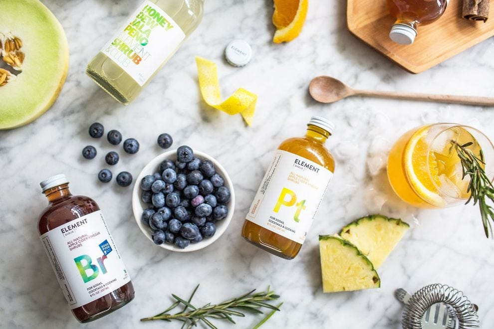 Element uses only organic cane sugar, apple cider vinegar and fresh fruits, herbs and spices in their line of shrubs and sipping vinegars