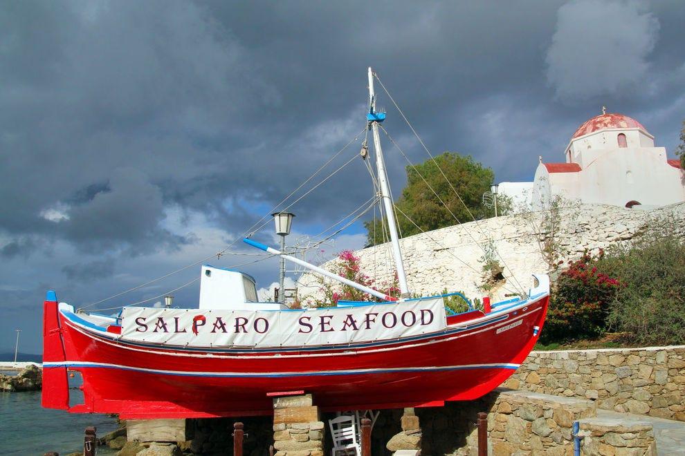 Seafood boat on Mykonos