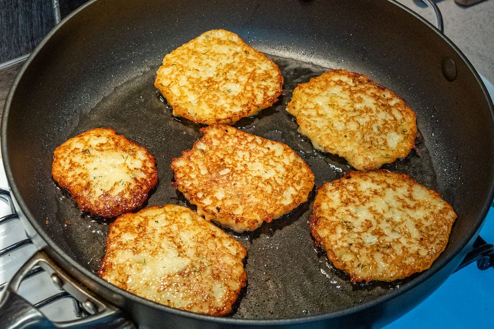 Potato pancakes can be made with mashed potatoes, but in Poland and other Eastern European countries, they're mostly made with grated potatoes