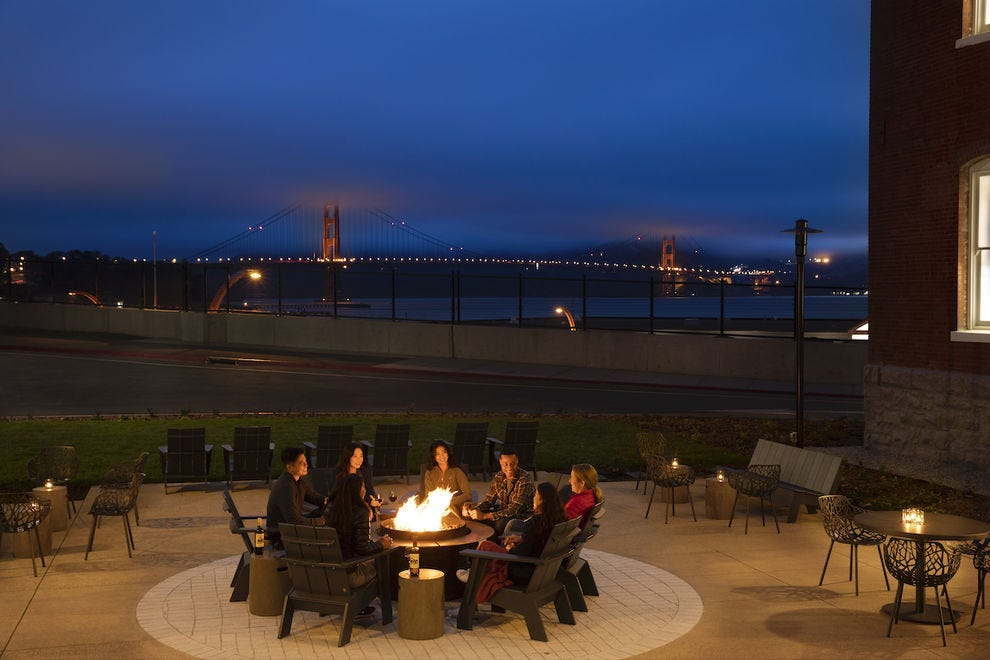 The fire pit at the Lodge at the Presidio is a highly-coveted spot to relax and take in the views