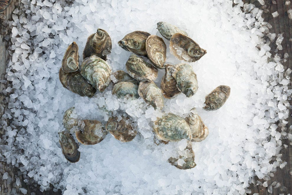 Oysters are shipped still alive and on ice, so they stay as fresh as the moment they were plucked from the Chesapeake Bay