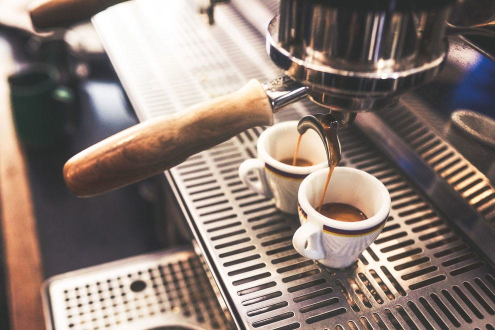 Making two cups of espresso