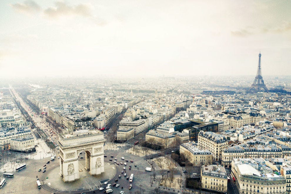 View of Arc de Triomphe and Eiffel Tower