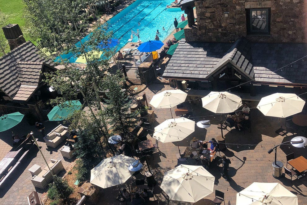 The terrace of the Ritz-Carlton, Bachelor Gulch, from above
