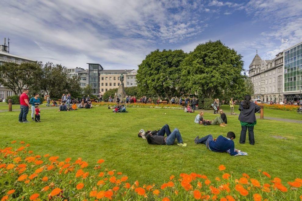 People in Austurvöllur park