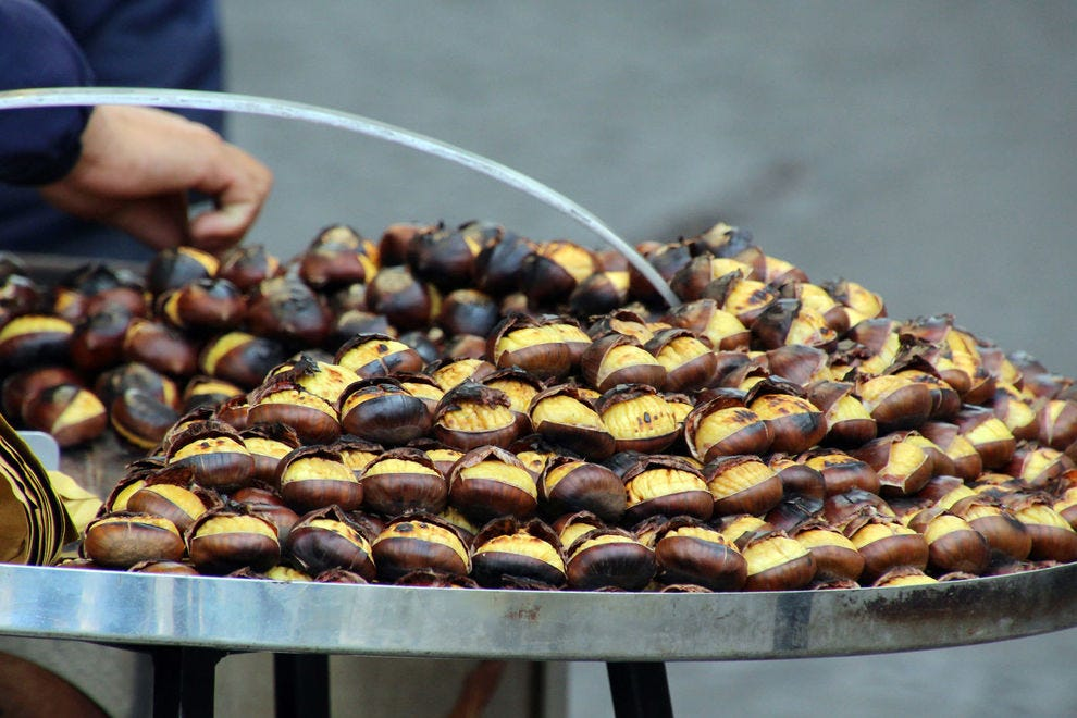Roasted chestnuts from a street vendor in Rome