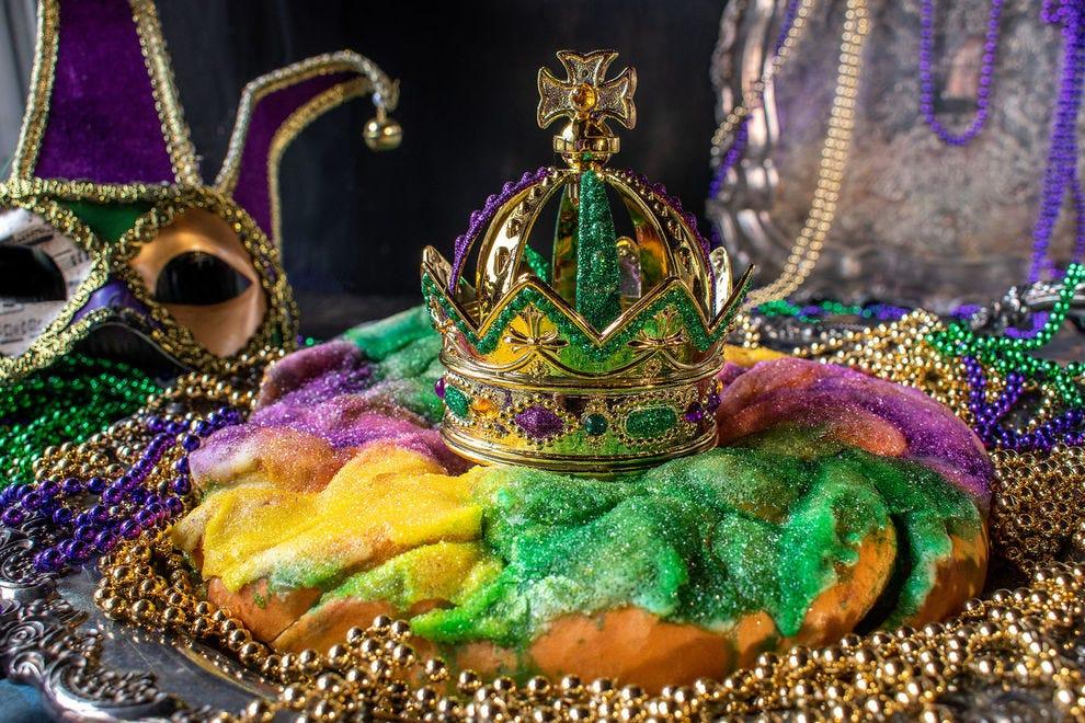Mardi Gras beads and king cake