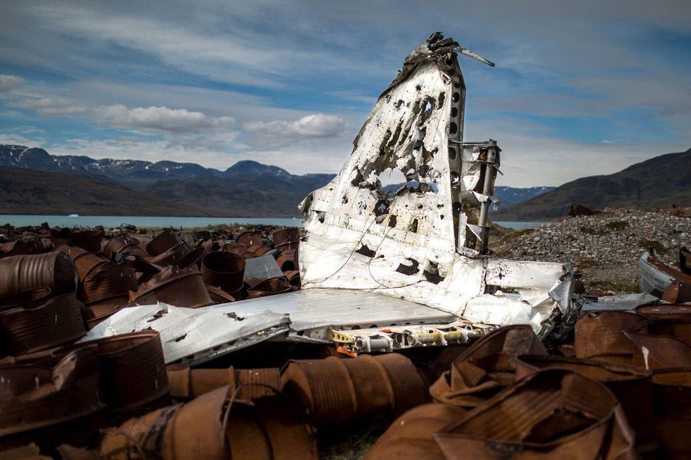 Parts of an old plane from the American air base in Narsarsuaq