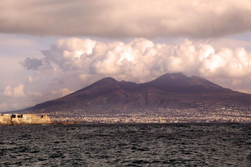 View on Mt. Vesuvius from the Bay of Naples
