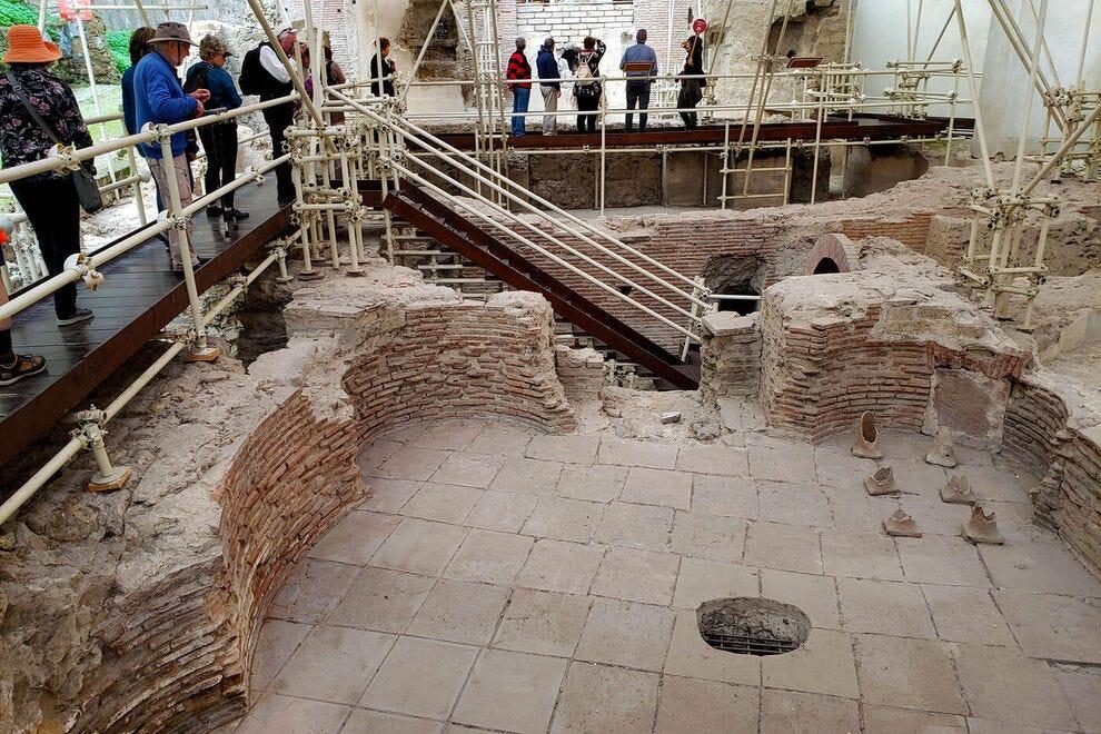 Ruins of an ancient Roman thermal bath in the Santa Clarita cloister