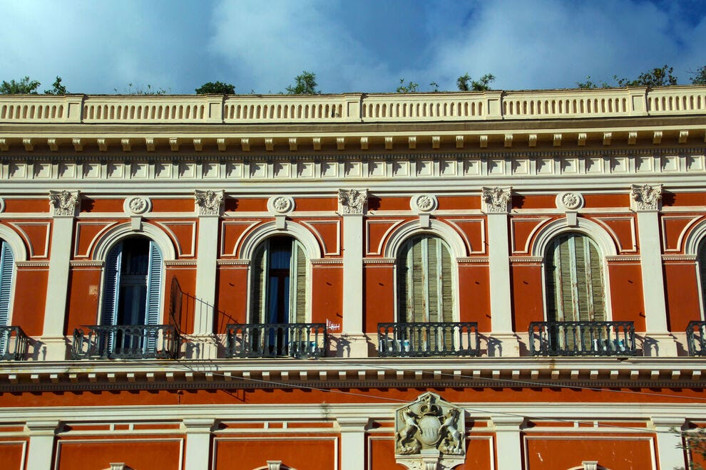 Architectural details in the historic center or Naples
