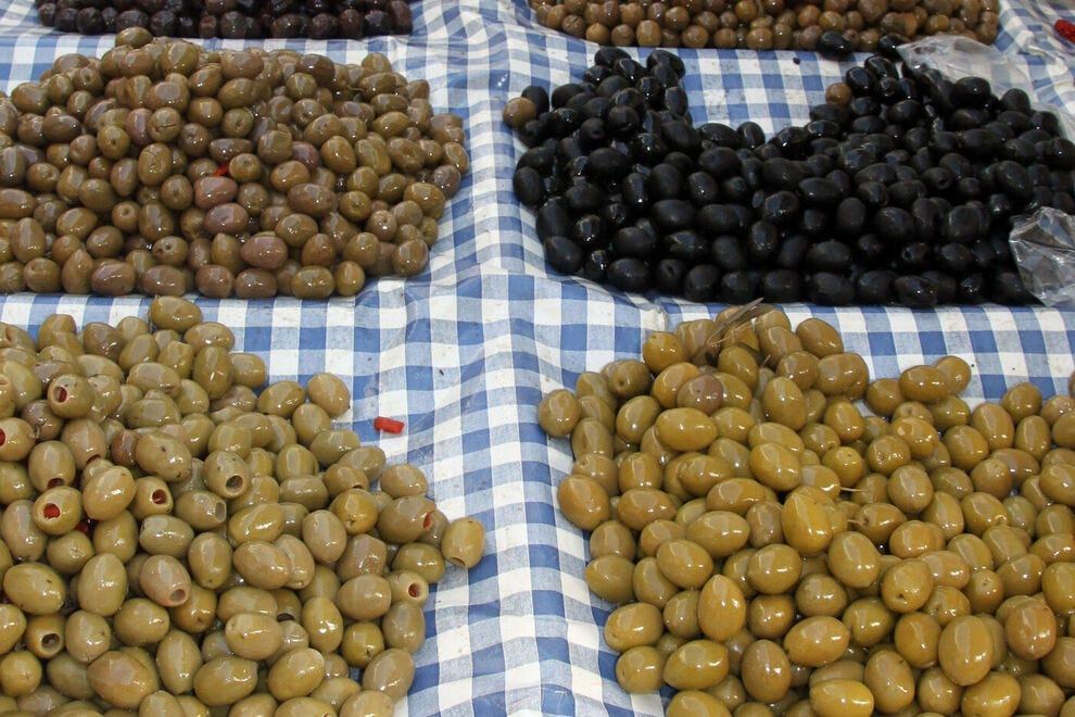 Selection of olives in a Naples market