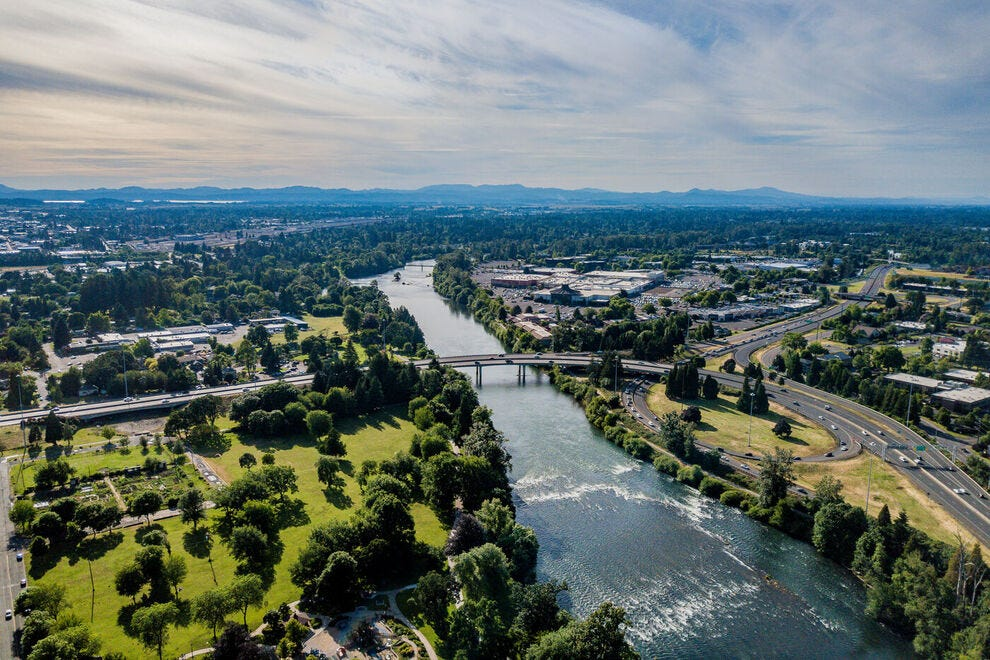 Willamette River in Downtown Eugene