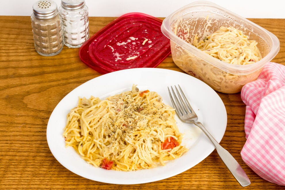 The resistant starches in this leftover chicken spaghetti can mean fewer digested calories the second time around
