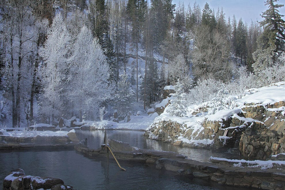 Strawberry Park Hot Springs in winter