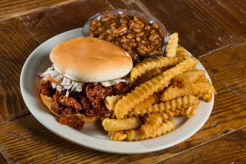 A popular vegan BBQ sandwich that's Memphis-style at the Imagine Vegan Cafe