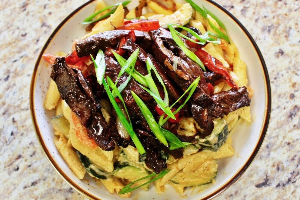 Desmond's Island Soul Grill's signature dish is a Jerk Mushroom Rasta Pasta