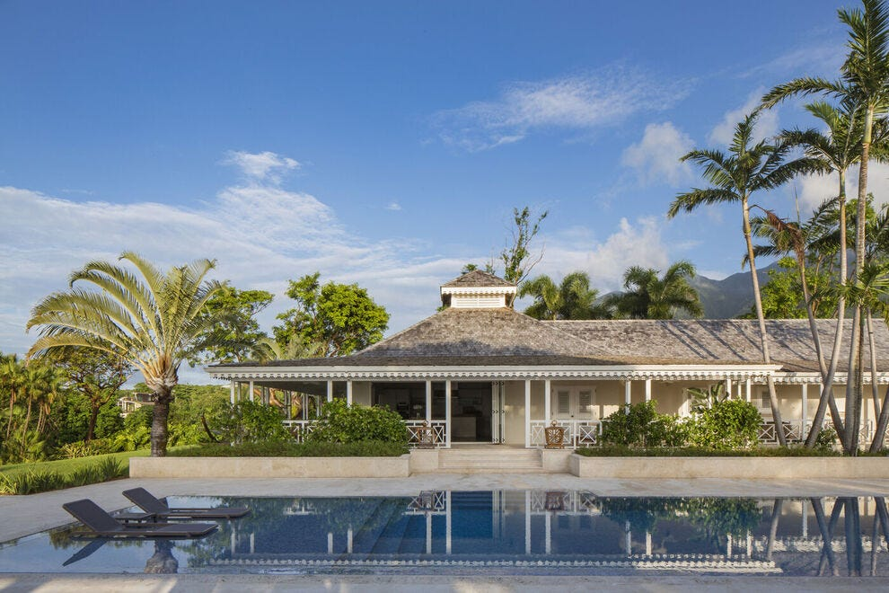 At the Four Seasons Resort Nevis, Villa Le Mangabey invites with four bedrooms, barbecue pavilion that seats 12 and an infinity pool