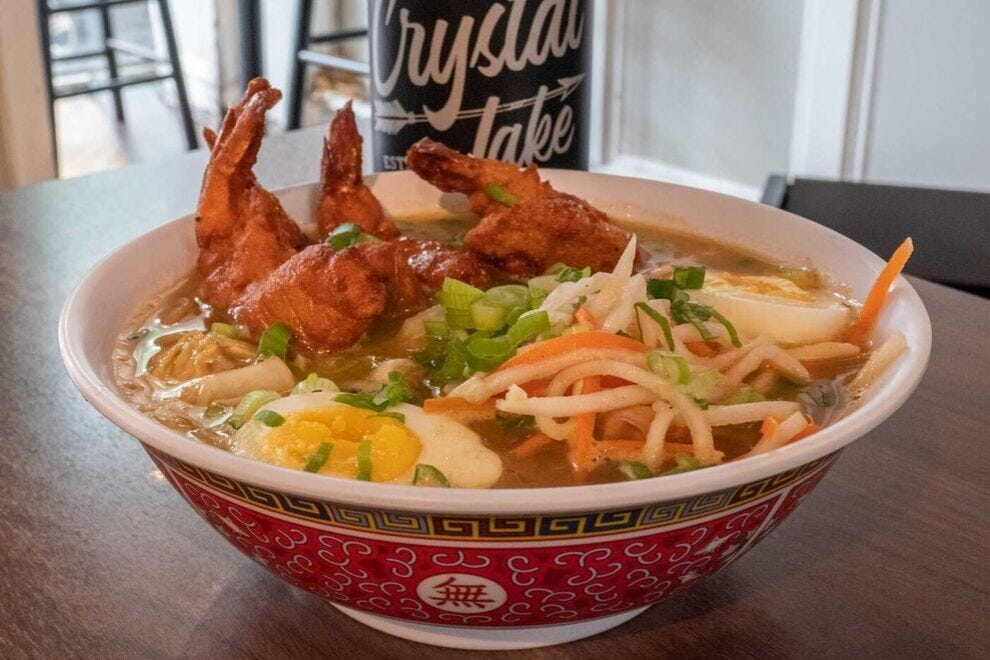 Fried Thai curry shrimp with ramen at Mi & Yu