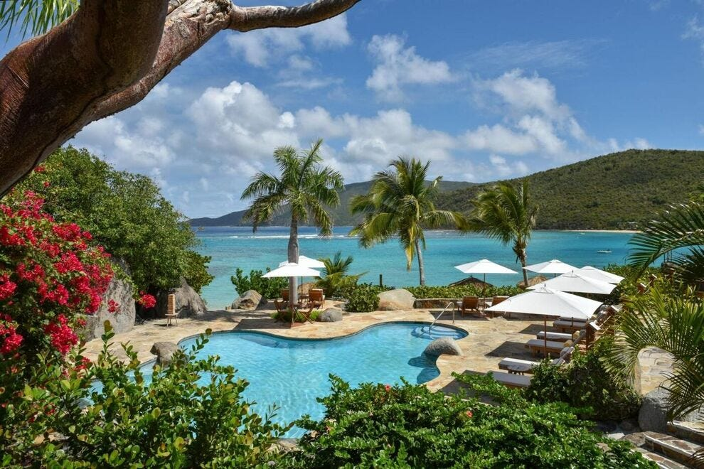 In the British Virgin Islands, the main pool at Rosewood Little Dix Bay in Virgin Gorda is a delightful perch on a sunny afternoon