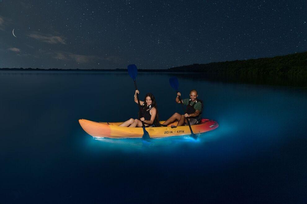 Kayaking in the glowing waters