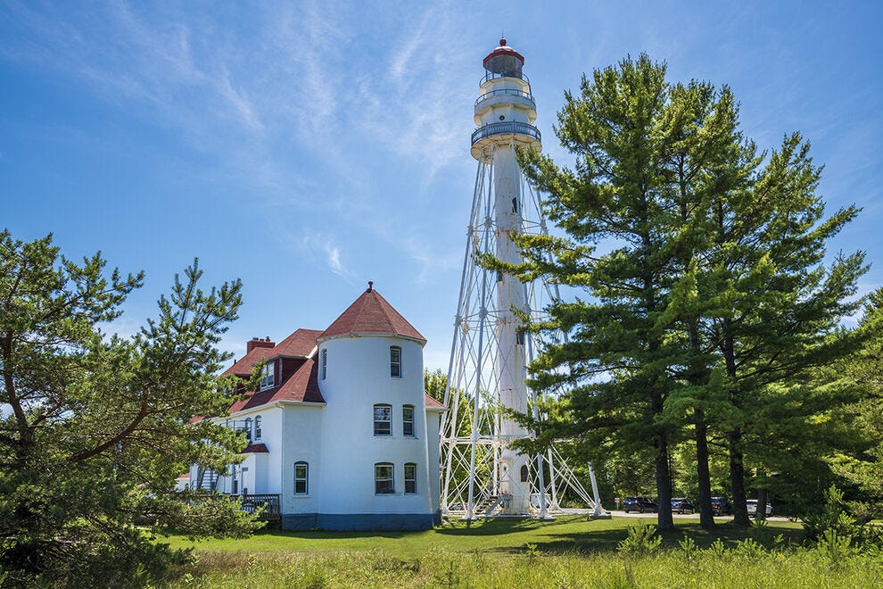 The 1853 Rawley Point Lighthouse, one of the most photographed lighthouses on Lake Michigan