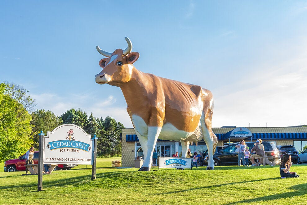 Look for the colossal cow on the front lawn of Cedar Crest Ice Cream