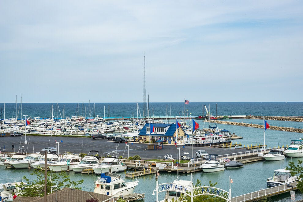 View of the Port Washington marina from The Harborview Hotel