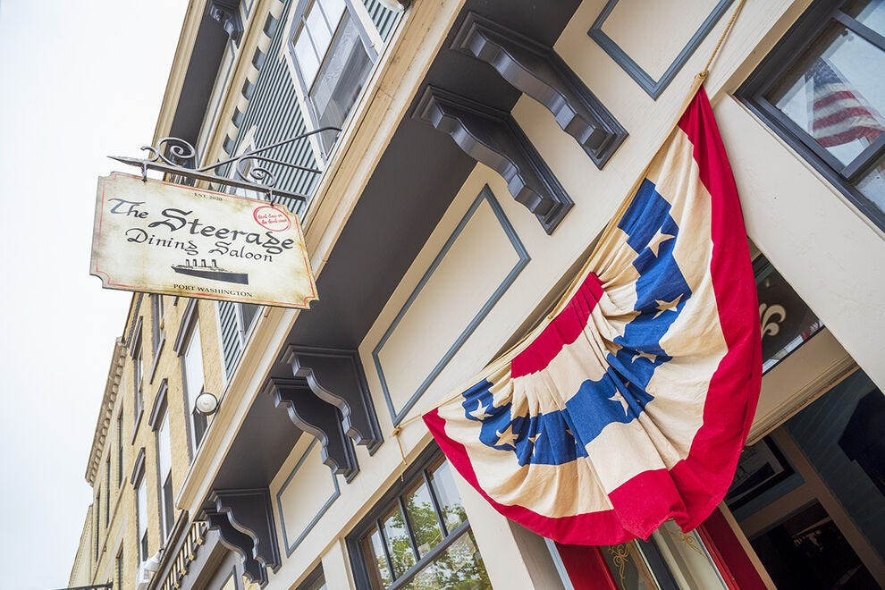 For elevated food in lower level space, try The Steerage Dining Saloon in Port Washington