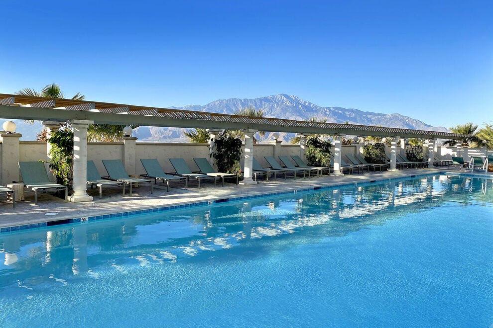 Azure Palm Hot Springs Resort has the largest swimming pool in town