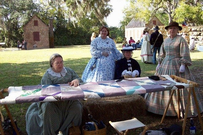 Reenactors portray real life activities of the Confederate States at Charleston's Confederate Museum