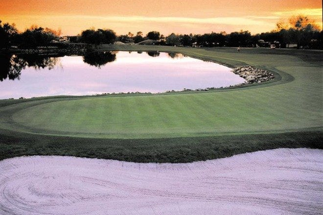 View from behind the 18th hole at the Bay Hill Club & Lodge, site of the PGA Tour's Bay HIll Invitational