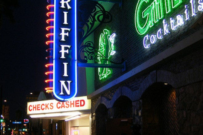 The entrance to The Griffin bar in downtown Las Vegas