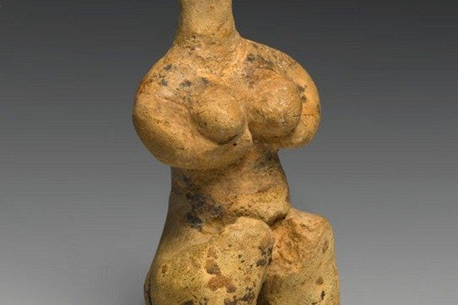Fertile Goddess Exhibit. Female Figurine. Provenance not known; type known from northern Mesopotamia (modern Iraq) and Syria. Late Halaf Period, late fifth millennium B.C.E. Clay, pigment, 4 1/8 x 1 7/8 x 1 5/8 in. (10.4 x 4.7 x 4.2 cm). Brooklyn Museum, Purchased with funds given by the Hagop Kevorkian Fund and Designated Purchase Fund, 1990.