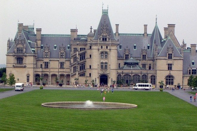 The exterior facade of the Biltmore Estate, the largest privately-owned home in the United States, features French Renaissance style architecture; Asheville, North Carolina.