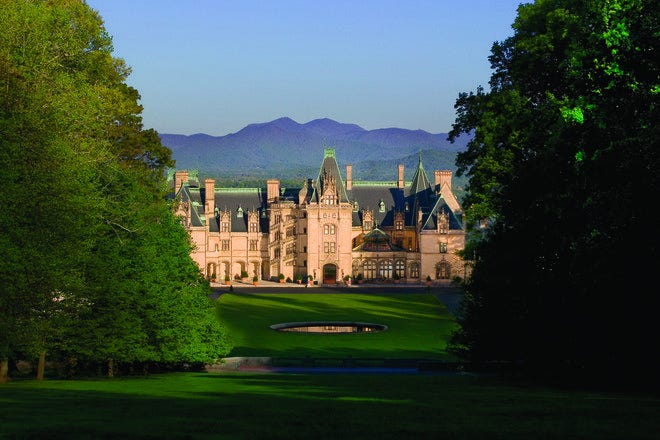 Biltmore House facade; Biltmore, Asheville NC.<br>Nearly one million visitors visit Biltmore House, America's largest home, each year. <br>Copyright 2007 The Biltmore Company, all rights reserved.