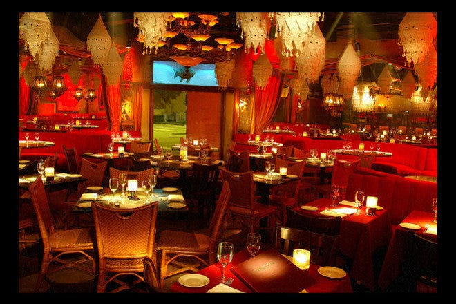 Tantra's dining room evokes a romantic, Eastern-influenced atmosphere