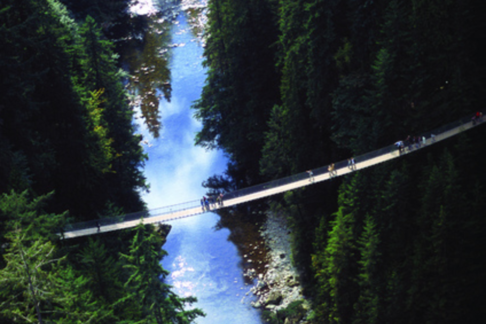 Capliano Suspension Bridge Aerial Shot