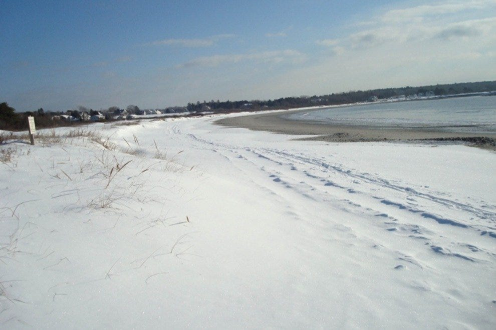 Skiing the coast at Crescent Beach State Park at Cape Elizabeth